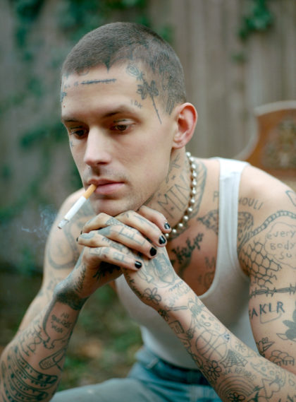 i-d magazine straight ups new york tattoo portrait smoking in garden
