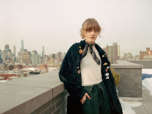 peyton knight i-D magazine on roof new york snow