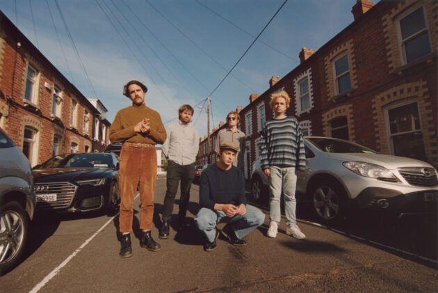 Press photo for Dublin band Fontaintes DC on the street in Ringsend